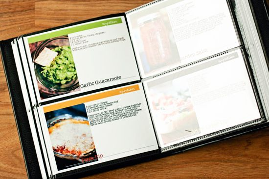 make a recipe book out of a photo album that holds 4 x 6 photos