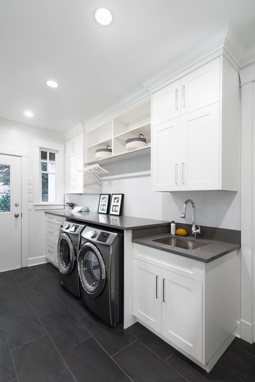 White Gray Laundry Room Interior Design Of A Home In Richmond
