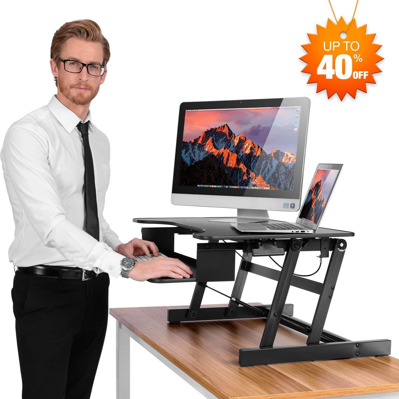 Ergoneer Healthy Sit Stand Desktop Computer Workstation Height Adjustable Standing Desk R Adjustable Height Standing Desk Adjustable Standing Desk Desk Riser