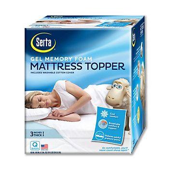 Serta 3 In Deep Pocket Gel Memory Foam Mattress Topper Memory Foam Mattress Topper Foam Mattress Topper
