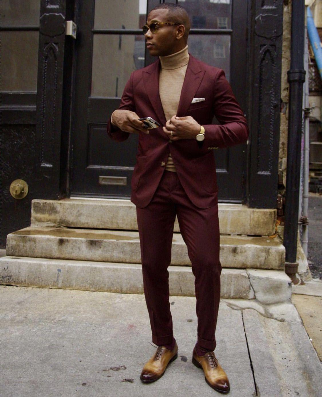 Burgundy Suit Tan Turtleneck Shoes And Pocket Square