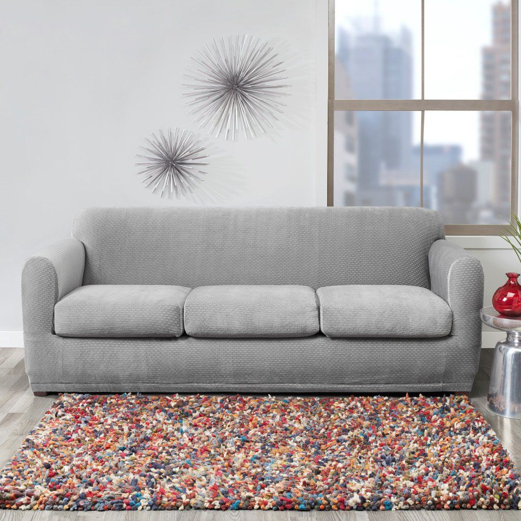 Stretch Modern Block Four Piece Sofa Slipcover Form Fit