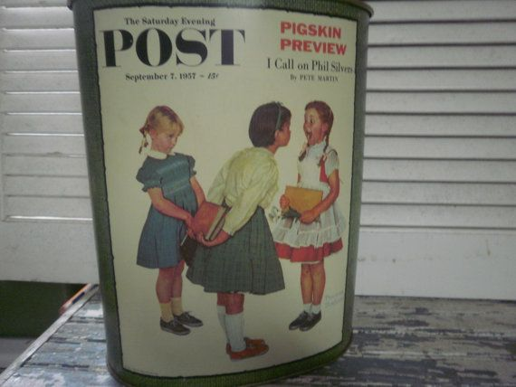 This Sweet Vintage Metal Waste Basket features Norman Rockwell The Saturday Evening Post lithograph two sided. One side is a boy and girl