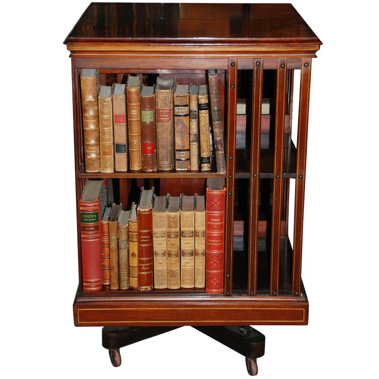 Rotating Bookshelves: Antique English Revolving Bookcase, C.1879-80