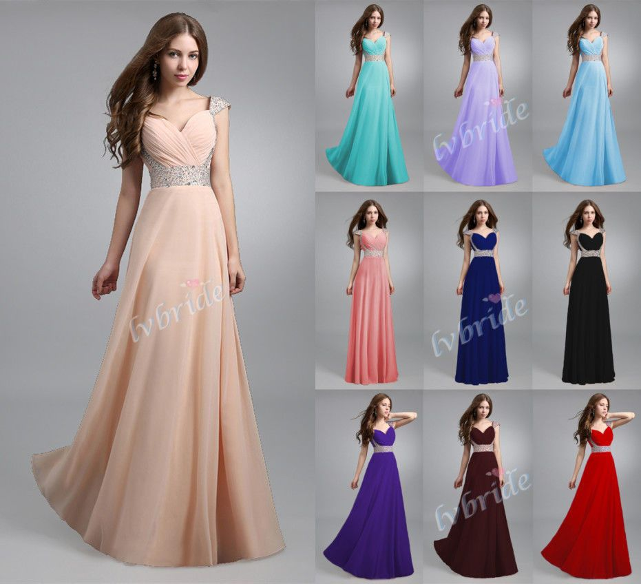 New long chiffon evening formal party ball gown prom bridesmaid new long chiffon evening formal party ball gown prom bridesmaid dress stock6 18 ombrellifo Images