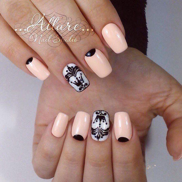 , Beautiful shellac nails, Crown nails, Drawings on nails, Half moon nails 2016, Peach gel nails, Royal nails, Shellac nails 2016
