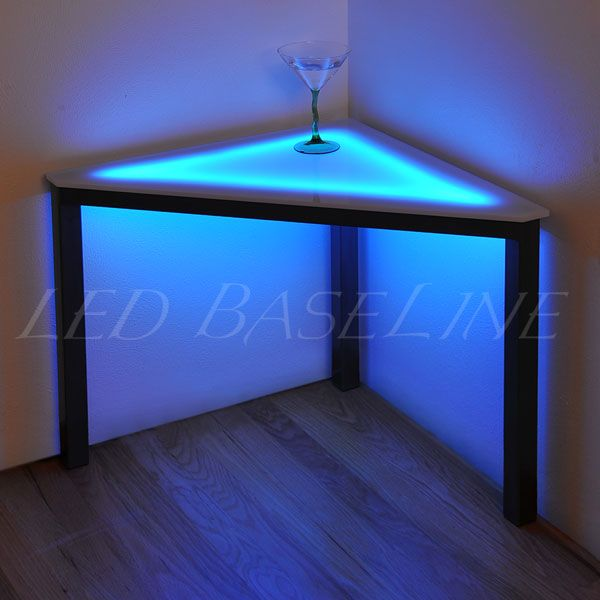 Light Up Those Dark Corners With This Awesome Table Great For Displaying Art Juice Bar Design Bar Design Custom Lighting