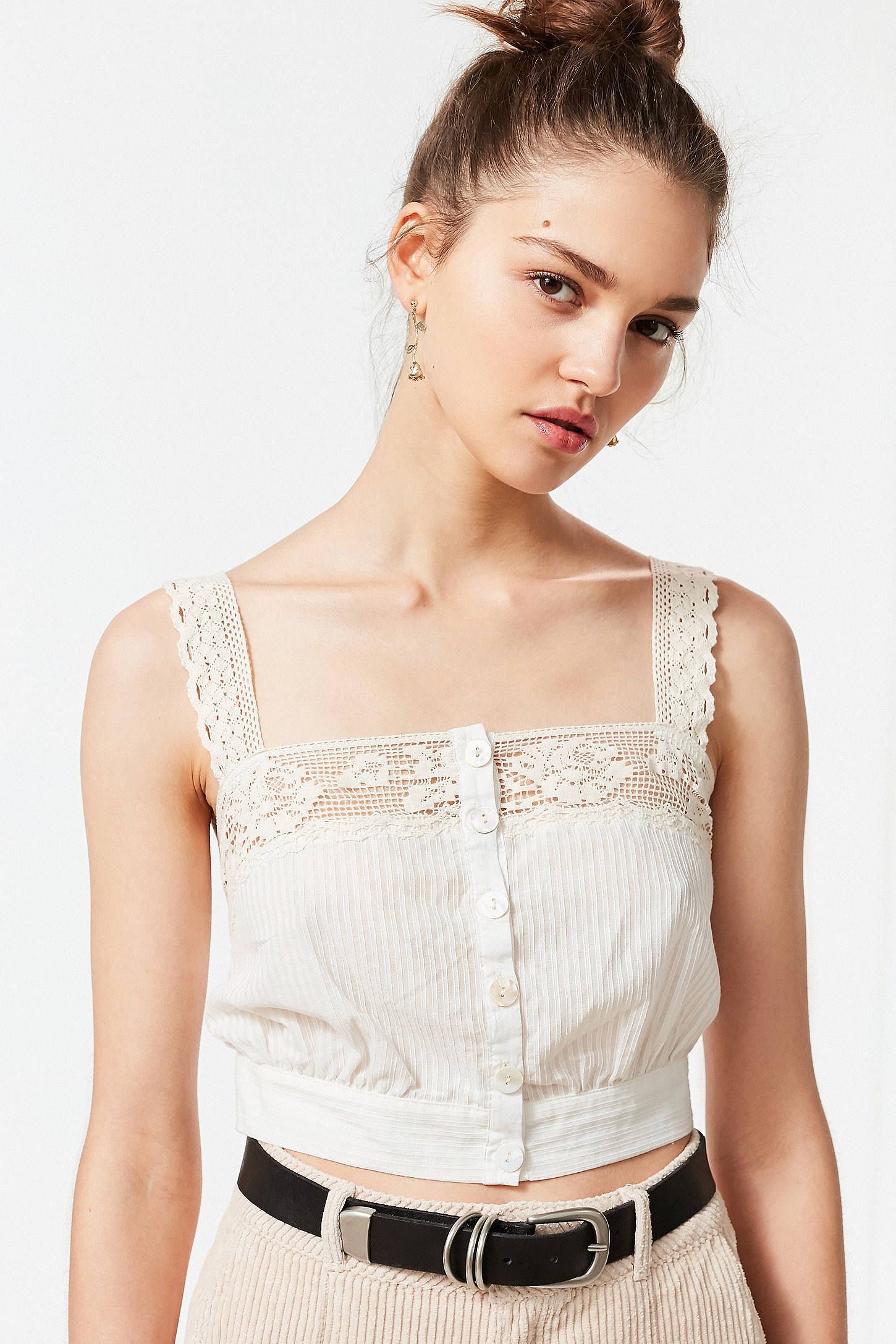 5bf914e9f3 Shop UO Jilly Ann Button-Down Lace Cami at Urban Outfitters today. We carry  all the latest styles
