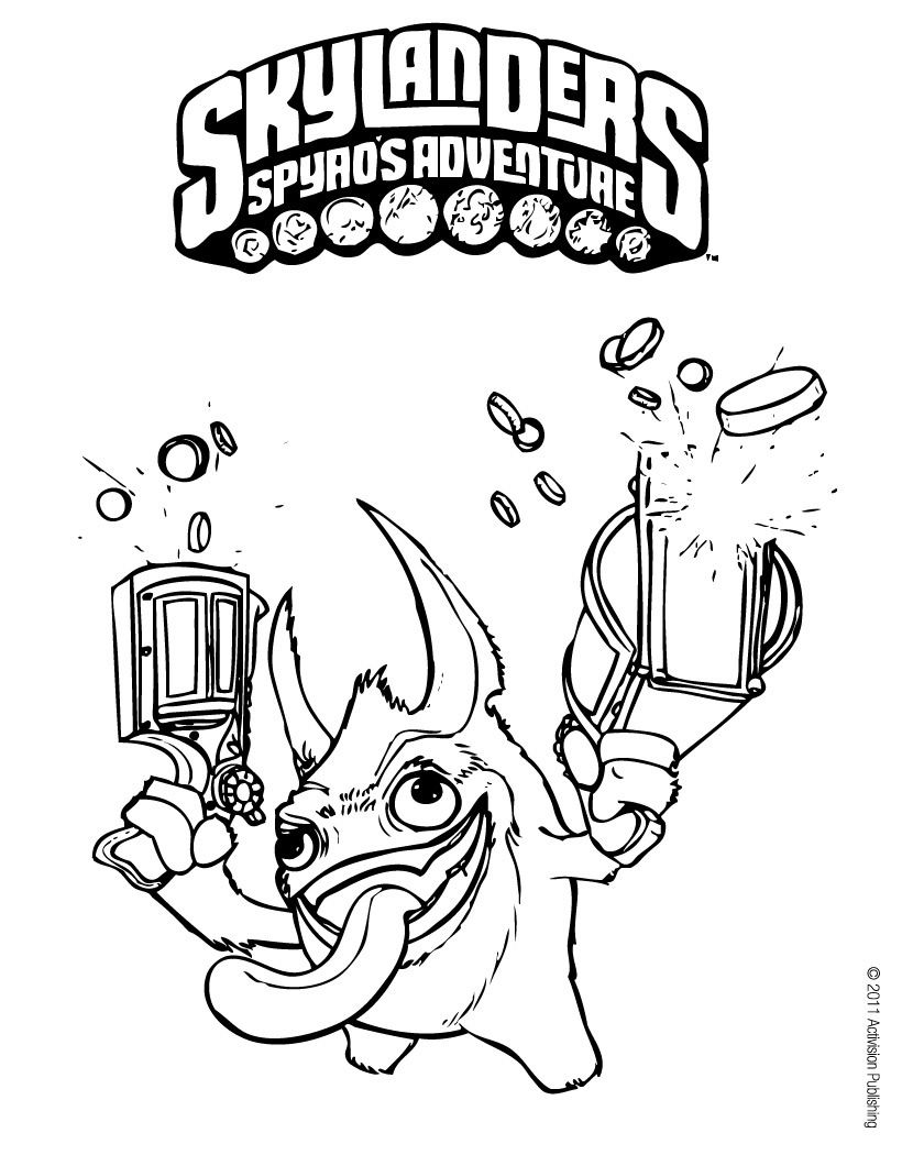 skylander trigger happy the king of the trigger tech skylanders coloring page