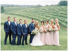 Romantic Blush and Navy Vineyard Wedding