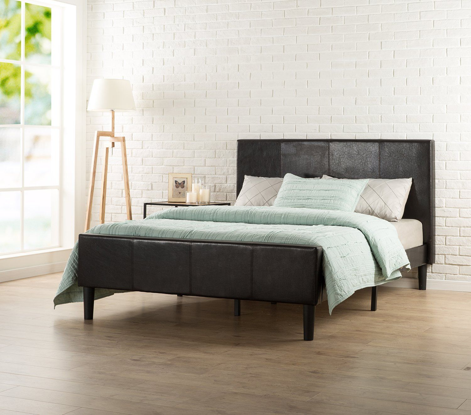 Delightful Amazon.com: Zinus Deluxe Faux Leather Platform Bed With Footboard And Wooden  Slats,