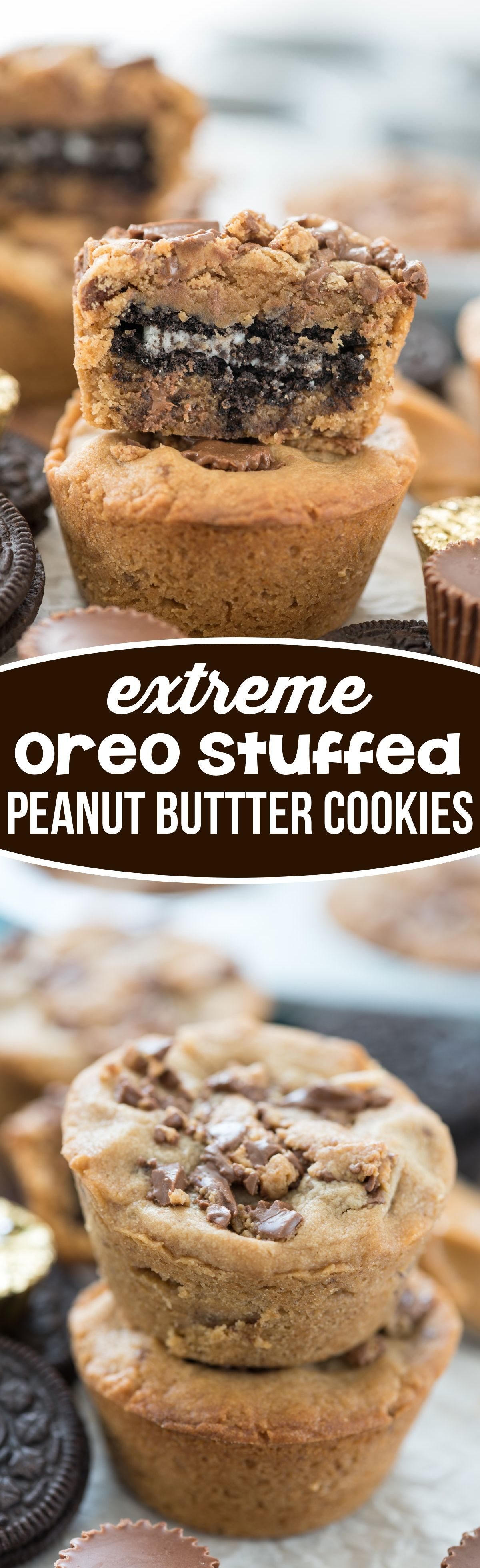 Oreo Stuffed Peanut Butter Cookies - easy cookies stuffed with OREOS and peanut butter cups!