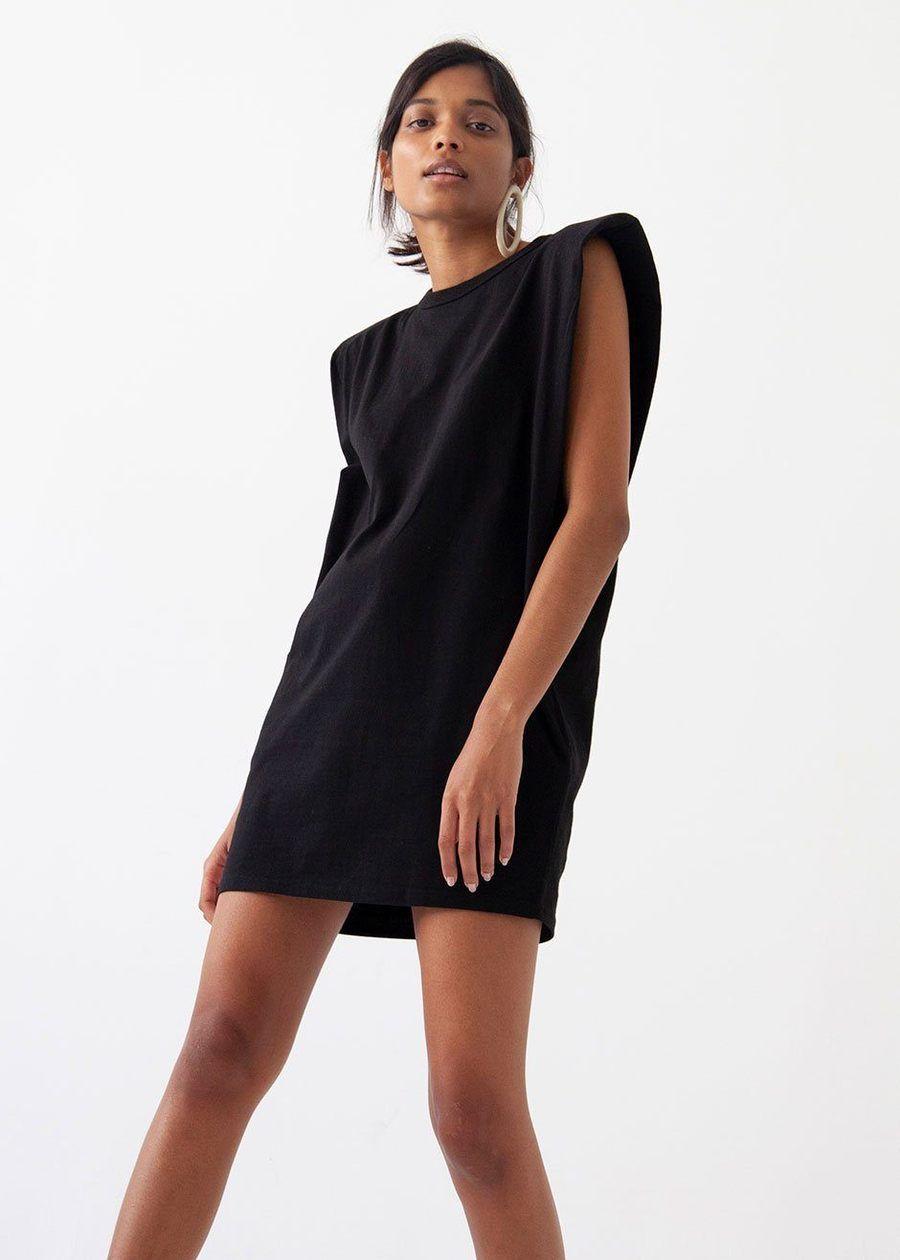 Tina Padded Shoulder Muscle Dress Black Black Dress Muscle Tee Dress Dresses [ 1260 x 900 Pixel ]