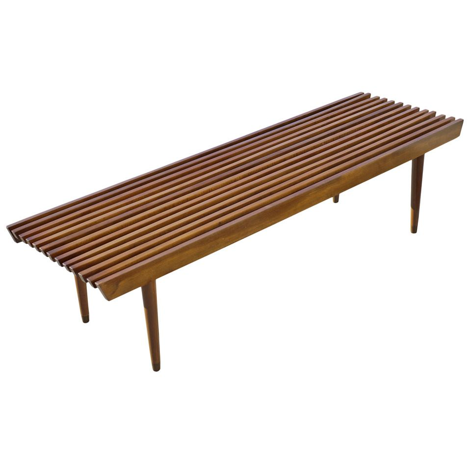 George Nelson Style Wood Slat Bench/Coffee Table