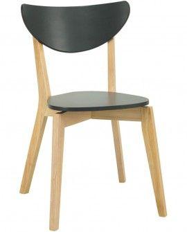 Cadeira de Jantar Naida Natural/Laqueado Carvão - 2 unidades