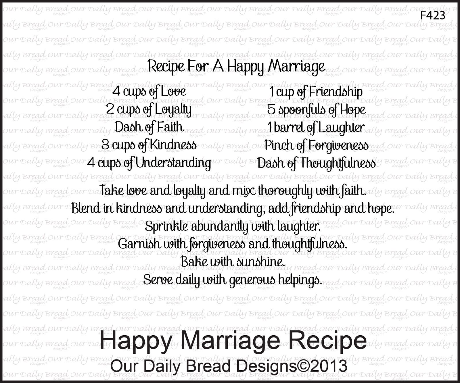 Happy Marriage Recipe This could be said for any