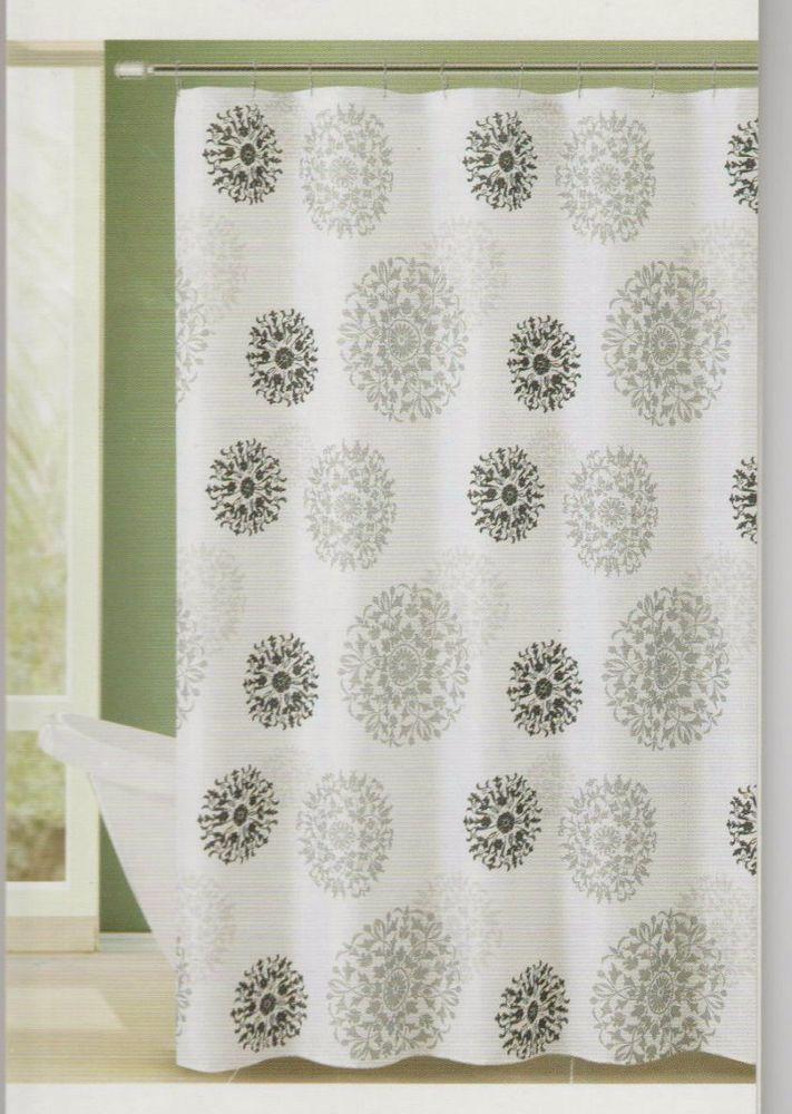 Medallion White Embossed Fabric Shower Curtain 72x72 Comfort Bay