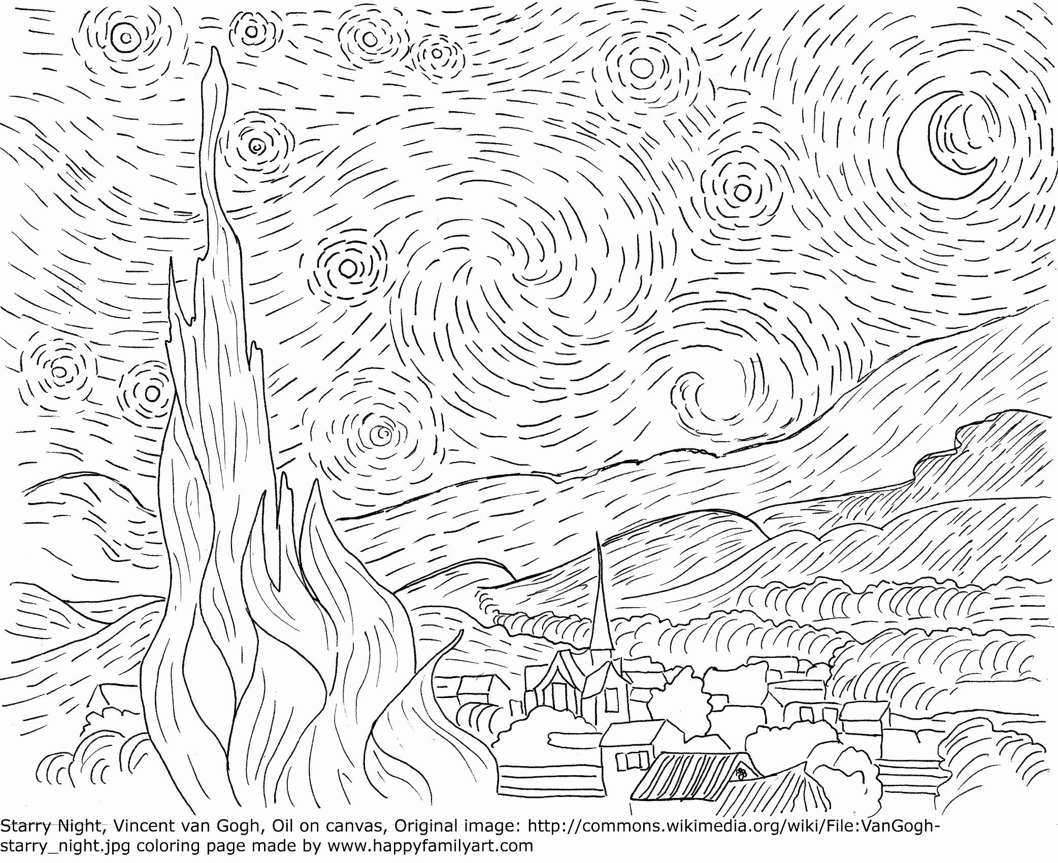 Starry Night Coloring Page Inspirational Original And Fun Coloring Pages I Like In 2020 Van Gogh Coloring Starry Night Van Gogh Famous Art Coloring