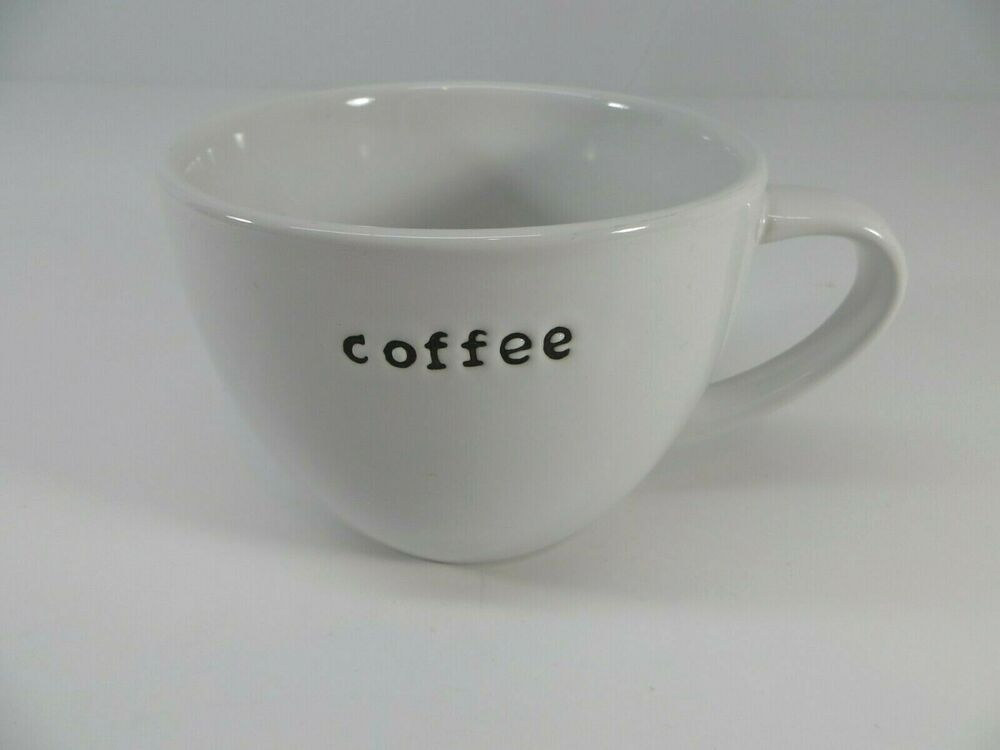Crate Barrel Coffee Mug Latte Cup White Typewriter Font 20 Oz Crateandbarrel Barrel Coffee Latte Cups Crate And Barrel