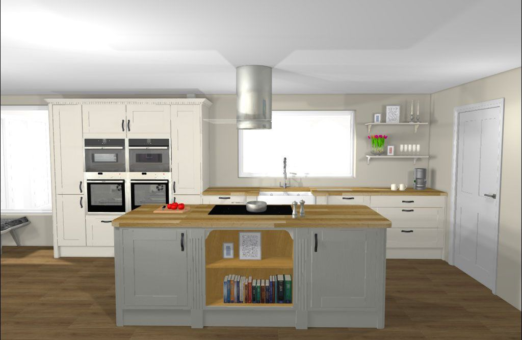 Have your kitchen designed by Howdens.  Contact your local depot or builder for more information.  This is a Shaker style kitchen in white with a Skye kitchen island form our Basingstoke depot.