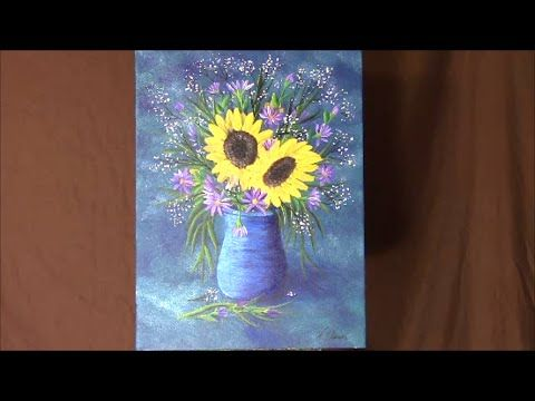 How To Paint A Vase Of Flowers Sunflowers Purple Daisies And