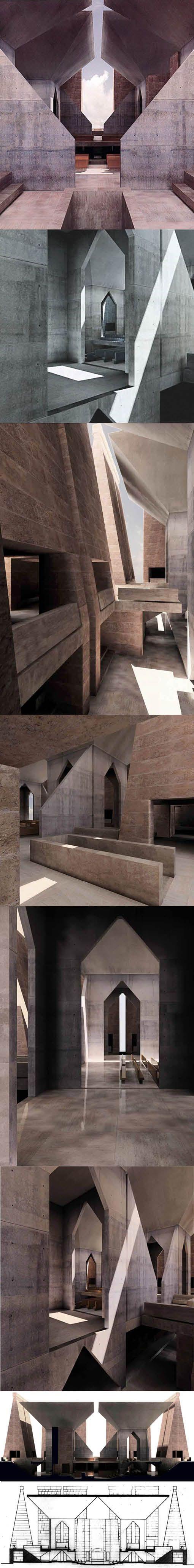 1967-1974 Louis Kahn - Hurva Synagogue / Jerusalem Israel / USA / concrete / concept / renderings: Kent Larson
