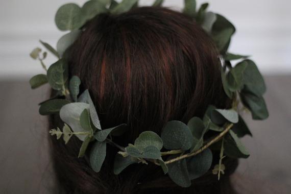 Eucalyptus Crown, greenery crown, olive leaf crown, simple green crown, flower crown, wedding flower crown, greenery halo, green leaf crown