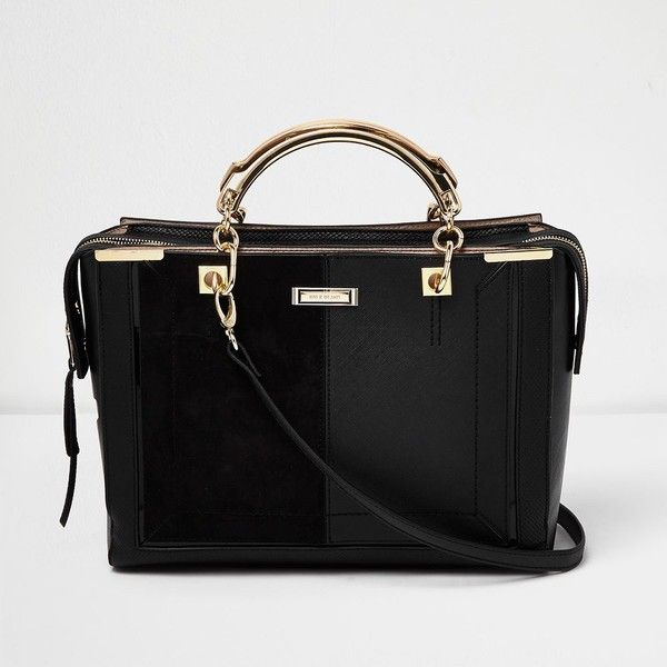 56f382418d River Island Black panel boxy tote bag ( 94) ❤ liked on Polyvore featuring  bags