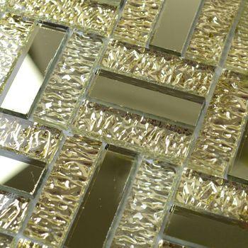 Buy Mirror Tile Backsplash Golden Glass Mosaic Tiles Bathroom Mirrored Wall Border Stickers Crystal Art
