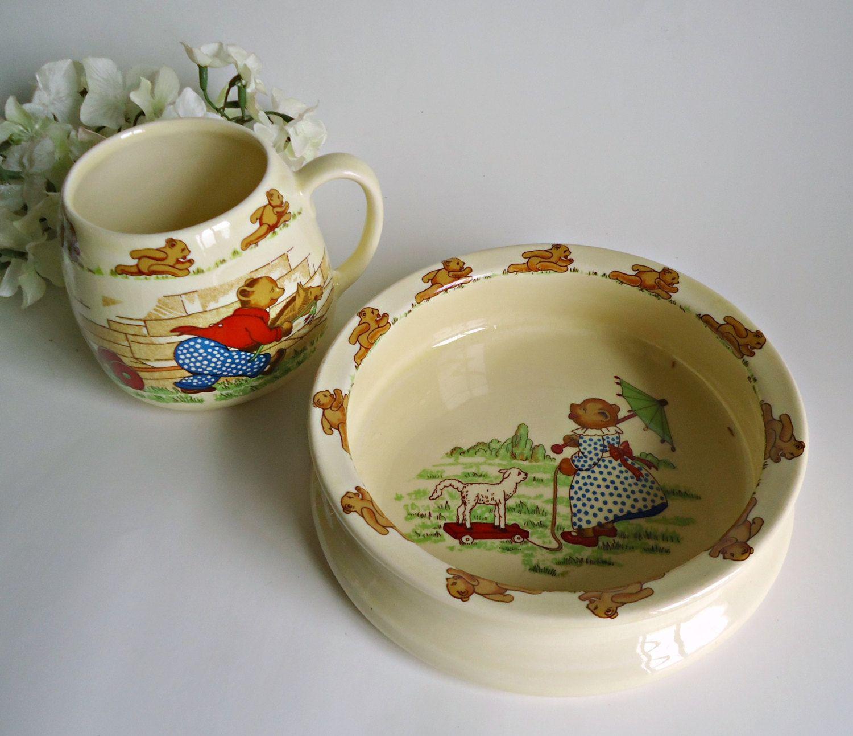 Sylvac Child\u0027s Bowl and Cup Bear Vintage Childrens Dishes & Sylvac Child\u0027s Bowl and Cup Bear Vintage Childrens Dishes by ...