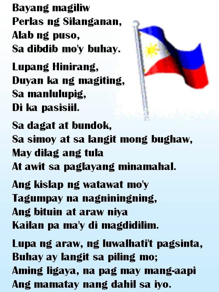 Letra Ng Lupang Hinirang National Anthem Of The Philippines