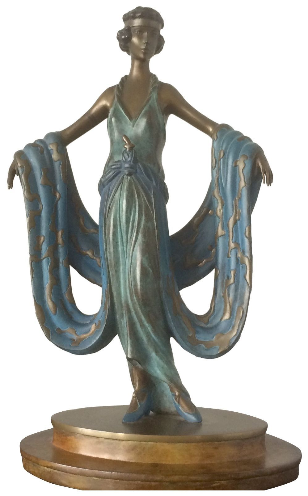 """Art Deco Style Polychromed Bronze Figural Sculpture After """"Gala"""" by Erté (Romain de Tirtoff) (Russian/French, 1892-1990), ca. 1980, ed. 300"""