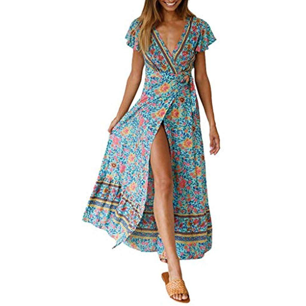 finest selection 2ab66 44023 JUTOO Damen Dress Casual Boho V-Neck Floral Sommer Party ...