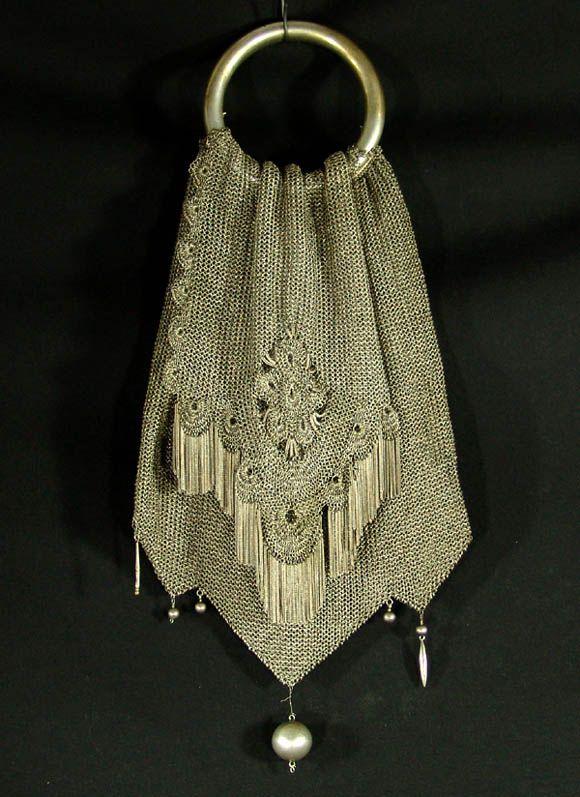Victorian German Silver Mesh Lady Miser Purse Hand Bag 1050 00 Vintage Handbags Purses