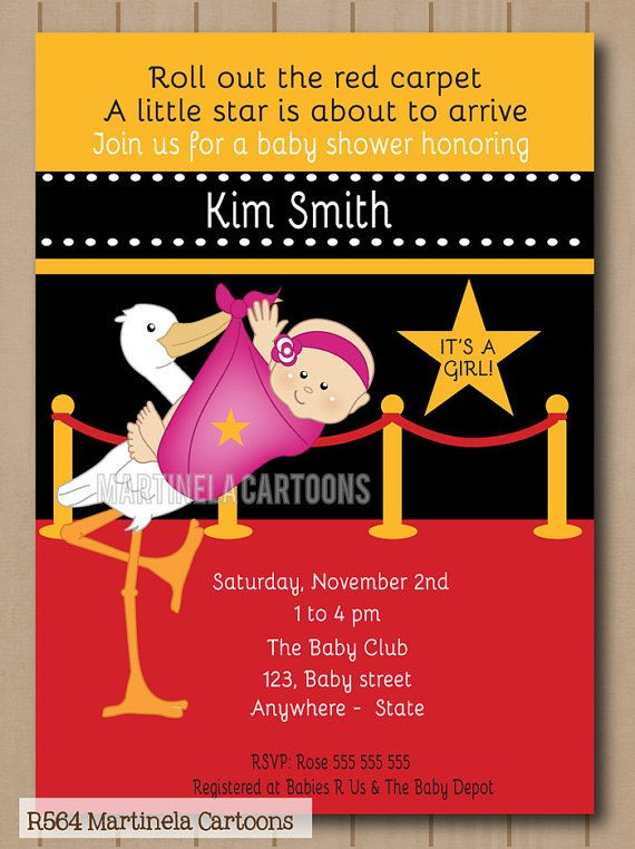 A Star Is Born Baby Shower Invitation Hollywood Invite Digital Printable You Print
