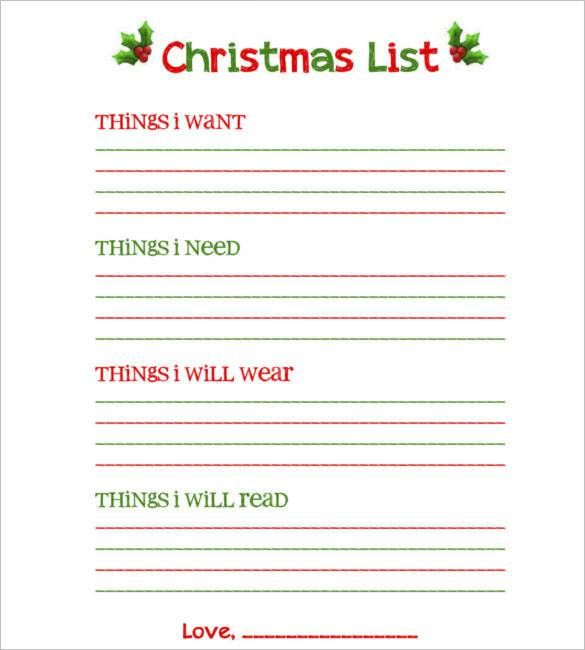 Download Blank Christmas List Free Printable , 24+ Christmas Wish - printable wedding guest list template