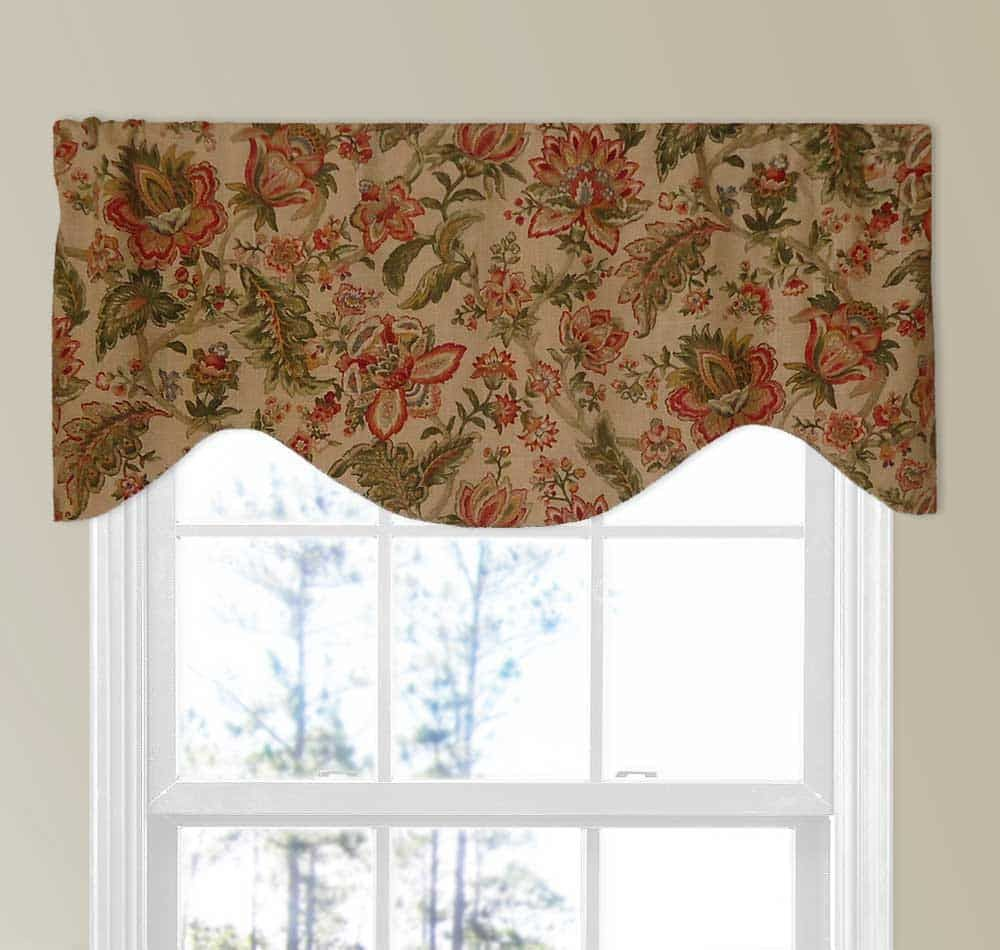 Colorful Floral Red And Green Curtain Shaped Valance Valance Custom Valances Green Curtains