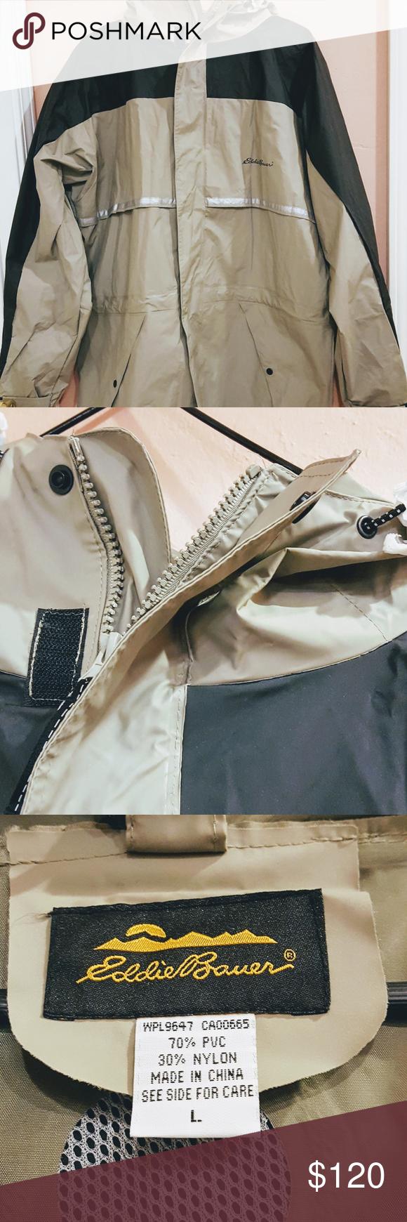 Eddie Bauer Hooded Rain Jacket Pants Gray Black Eddie