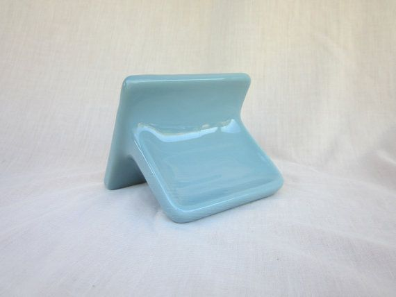 Vintage Country Blue Ceramic Tile Wall Soap Holder By Gilmer Potteries Of Texas 14 99