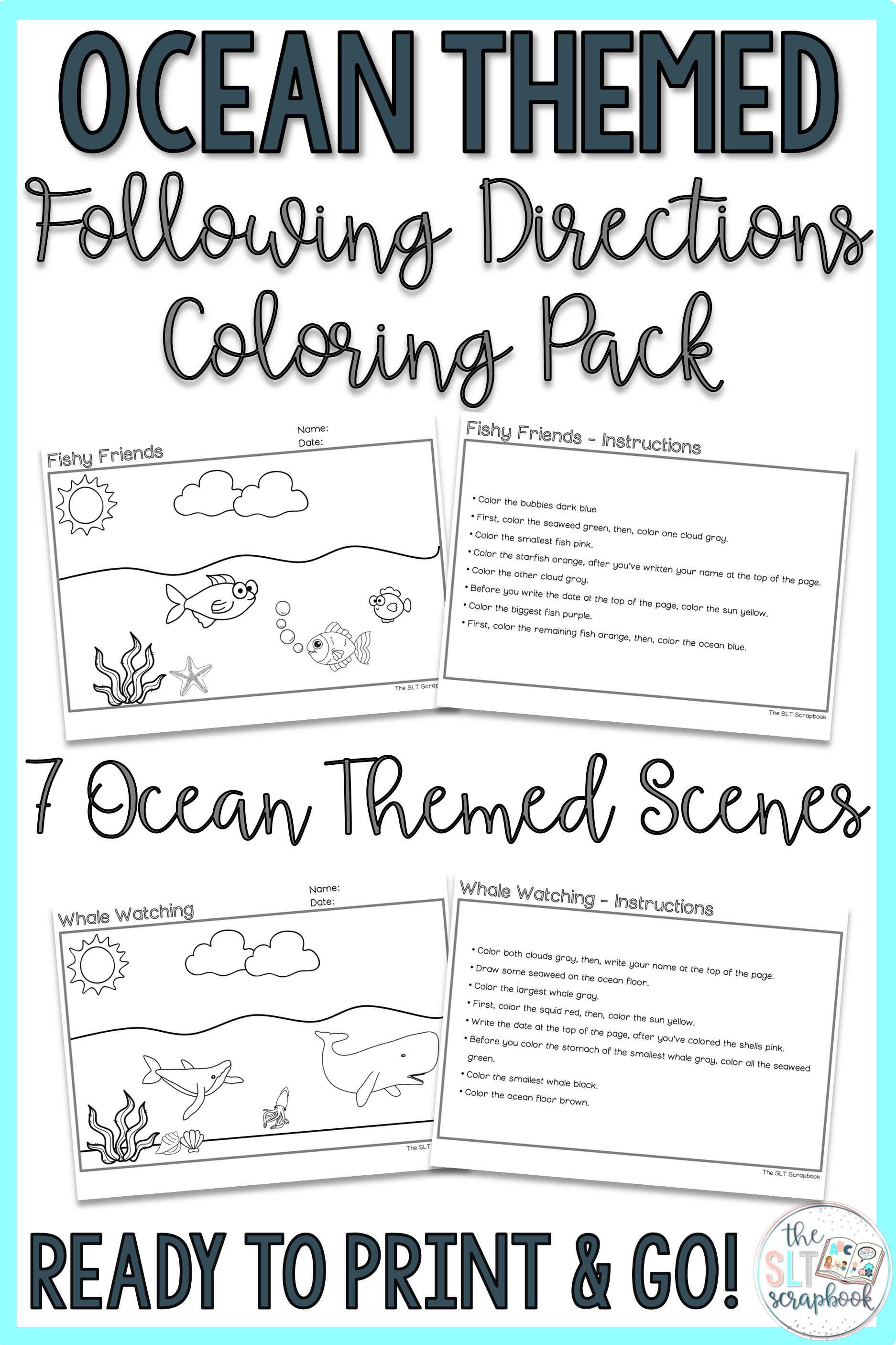 Ocean Themed Following Directions Coloring Pack Mixed