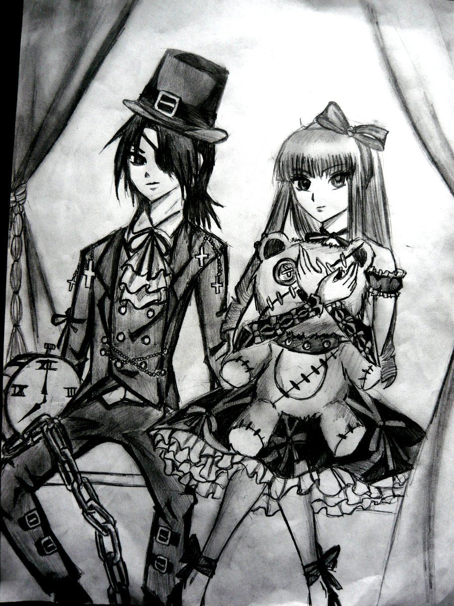Gothic Lolitta Drawing Lolita And Kodona Yamiblood Deviantart Dark Little