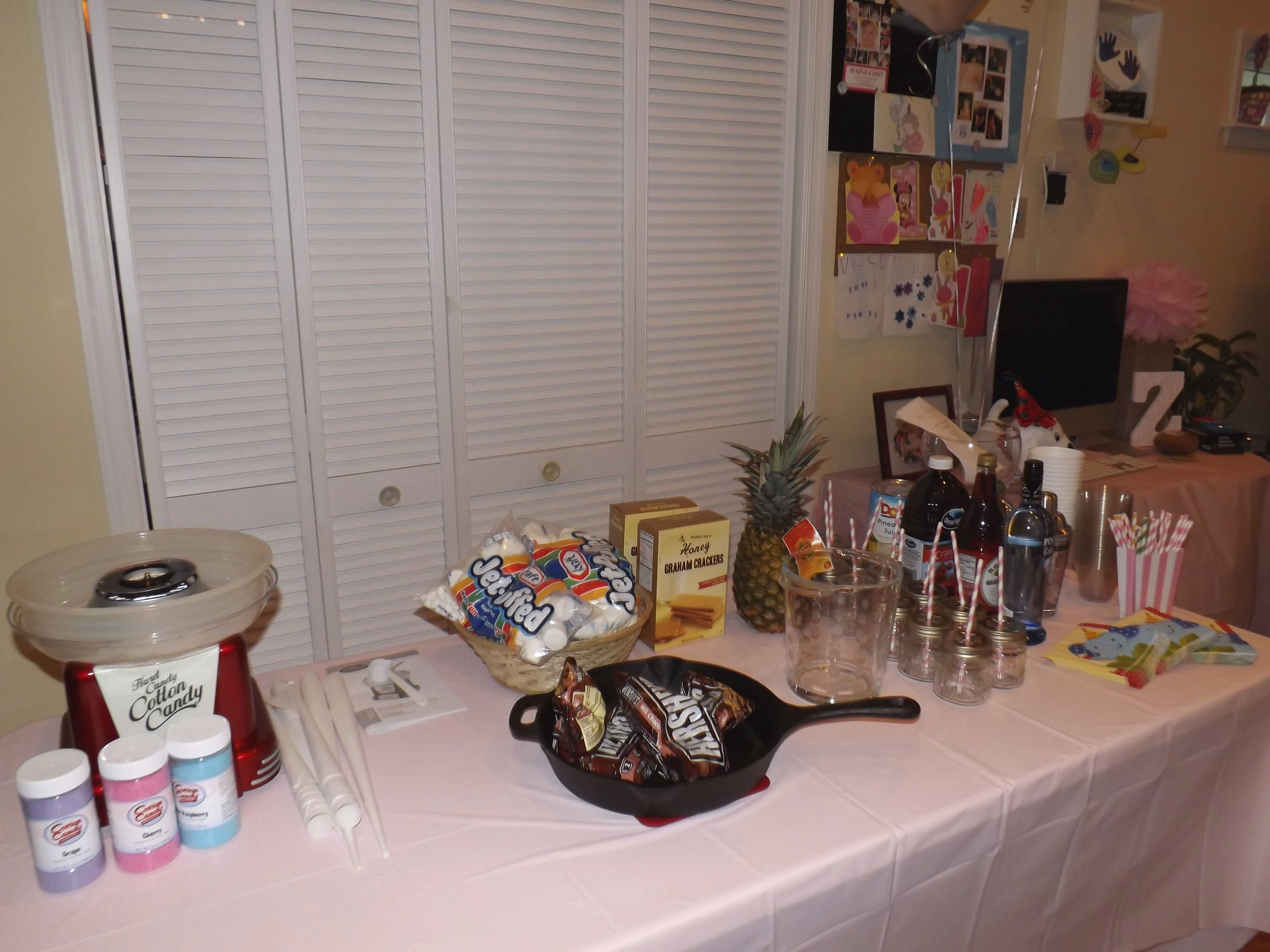 Cotton Candy, Indoor S'mores and specialty drink for 1st Birthday party