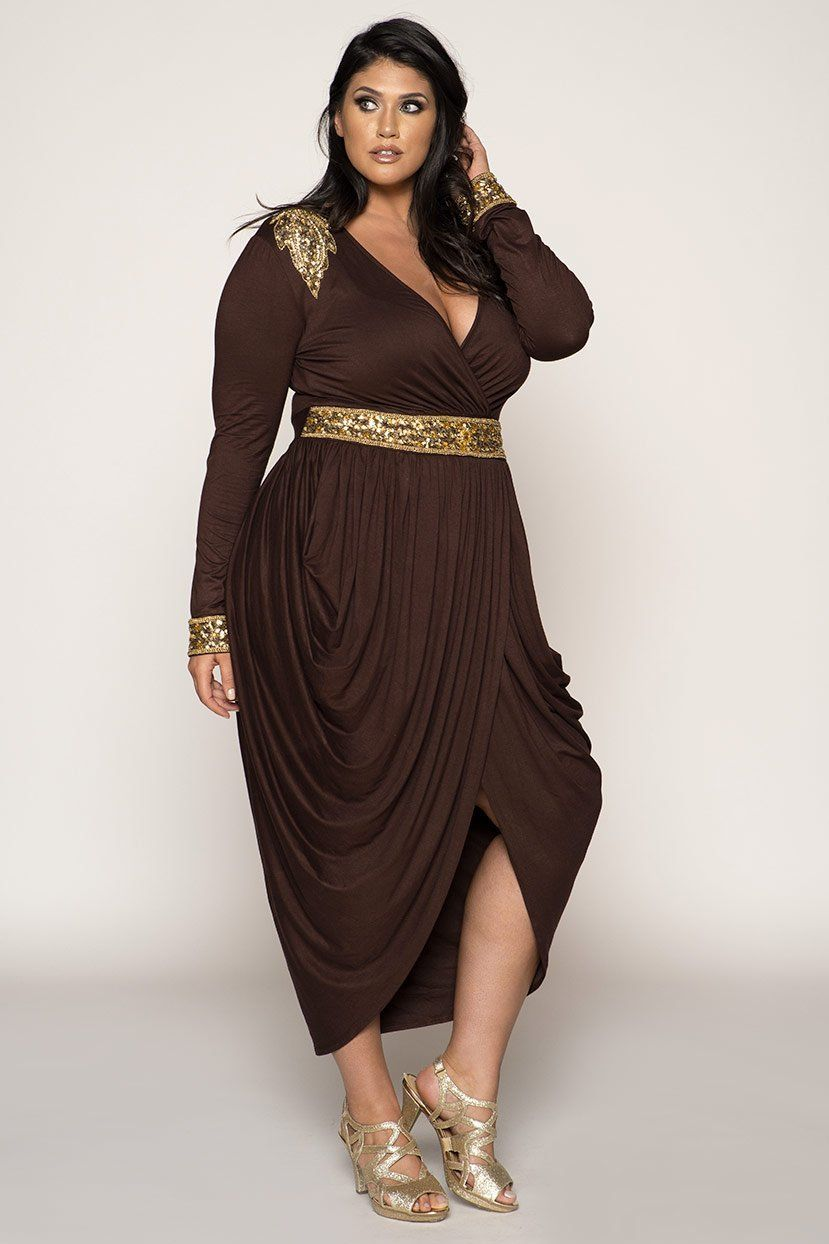 55275a19a05 HOURGLASS BROWN WITH GOLD BEADS EGYPTIAN HAREM WRAP OVER DRESS