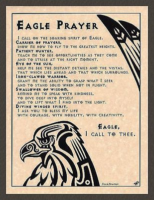 EAGLE PRAYER Shaman Animal Spirit Poster Page Art Native