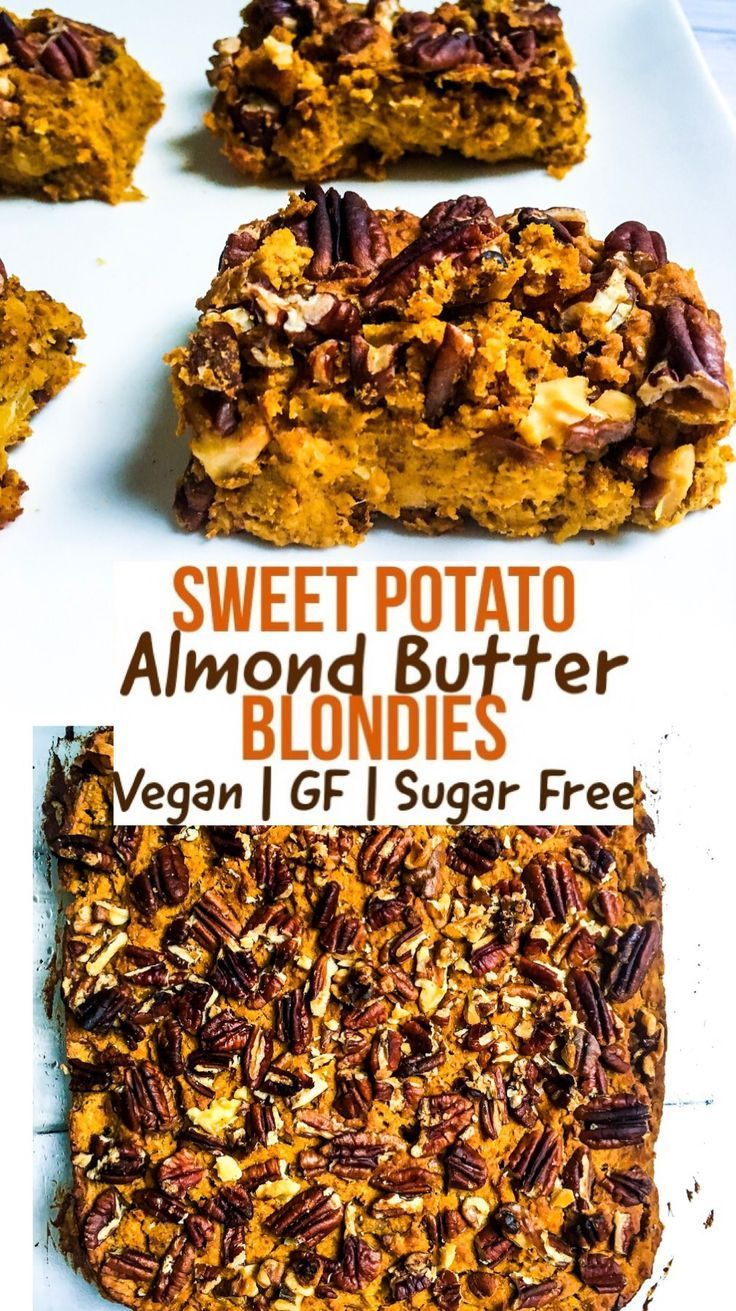 Sweet Potato Almond Butter Blondies #sugarfreedesserts
