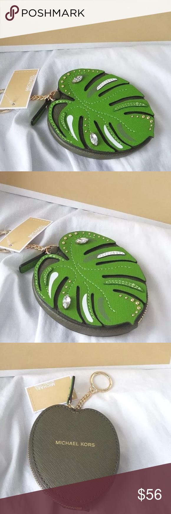 acc4632193ad80 Authentic Michael kors Palm leaf coin /key holder Authentic Michael Kors New  design Leather Palm
