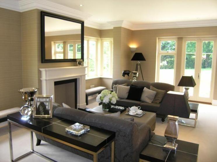 Photo Of Modern Beige Black Grey White Living Room Lounge With Pattern Stripey Wallpaper Beige Living Rooms Living Room White Living Room Grey