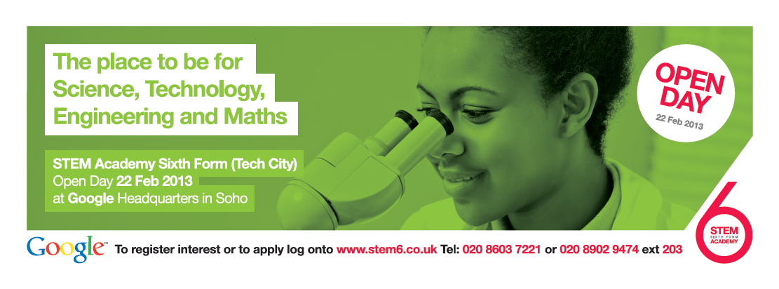 #Bus #advertising for STEM Academy  http://www.transportmedia.co.uk/transport-media-outdoor-advertising/press/transport-media-and-luther-pendragon-co-ordinate-bus-advertising-campaign-for-stem-sixth-form-academy-20130207/3239