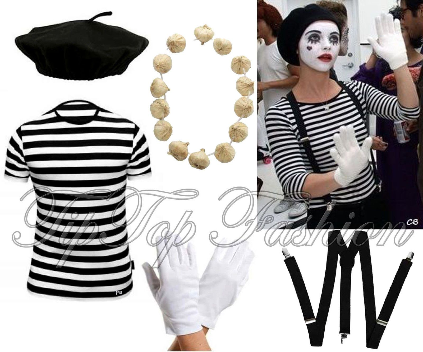 Ladies French Mime Artist Circus Costume Women Book Week Fancy Dress Outfit