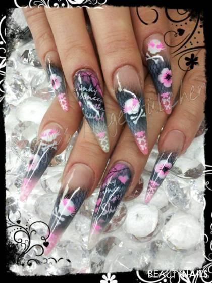 Skull Airbrush Nails Pinterest Punk Nails Airbrush Nails And